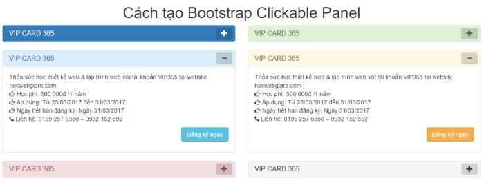 Hướng dẫn cách tạo Bootstrap Clickable Panel