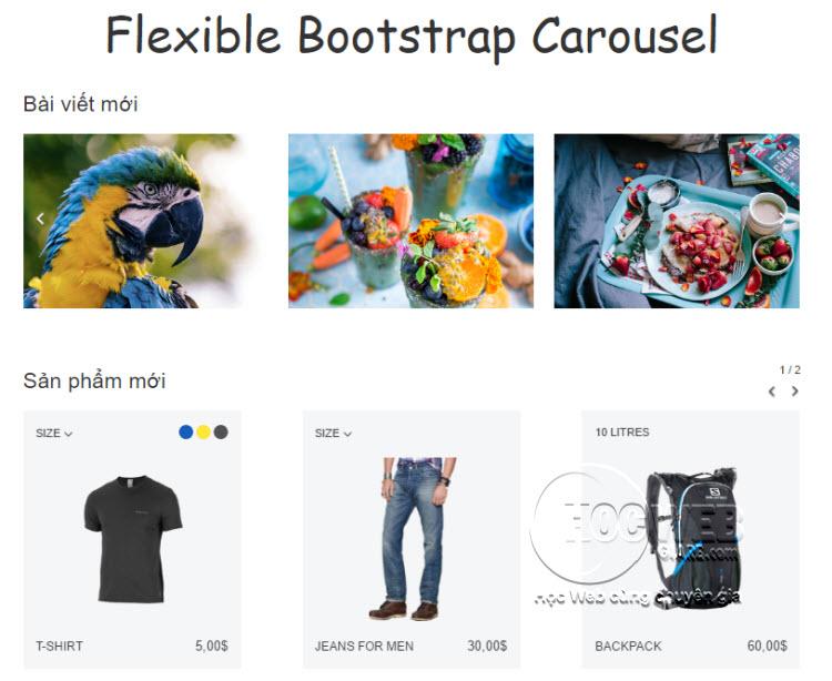 Hướng dẫn cách tạo Flexible Bootstrap Carousel