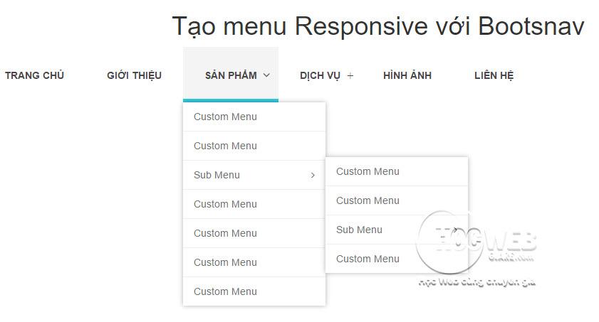 Hướng dẫn cách tạo menu Responsive với Bootsnav