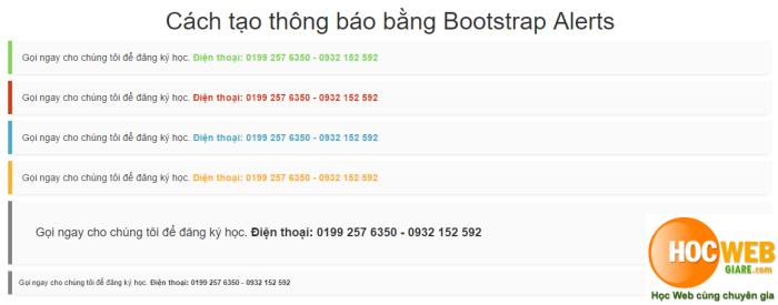 Cách tạo thông báo bằng Bootstrap Alerts