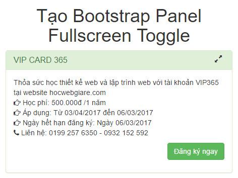 Hướng dẫn cách tạo Bootstrap Panel Fullscreen Toggle