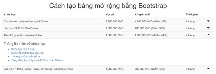 Cách tạo bảng mở rộng bằng Bootstrap