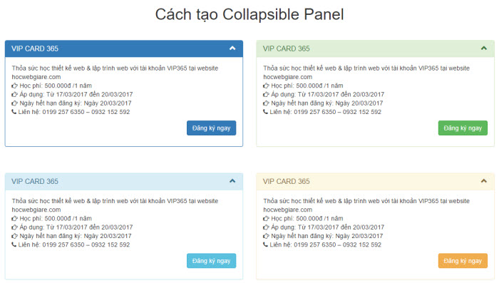 Hướng dẫn cách tạo Bootstrap Collapsible Panel