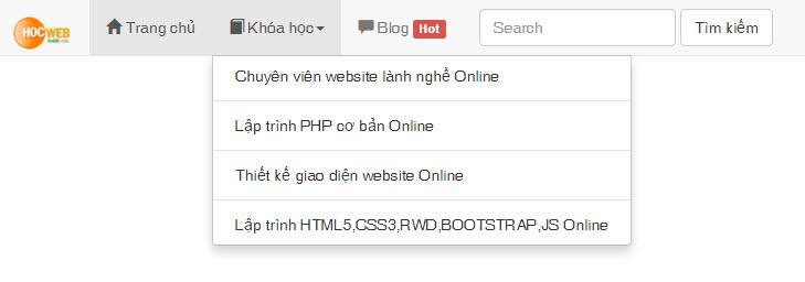Cách tạo menu dropdown bằng Bootstrap