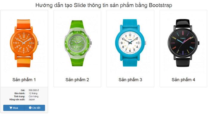 Hướng dẫn tạo Slide thông tin sản phẩm bằng Bootstrap