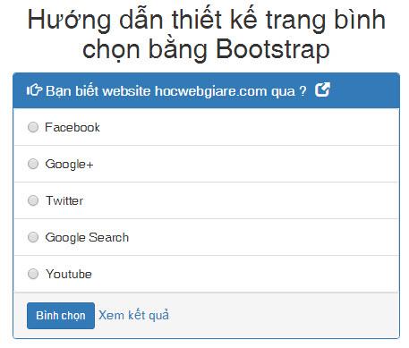Hướng dẫn thiết kế trang bình chọn bằng Bootstrap