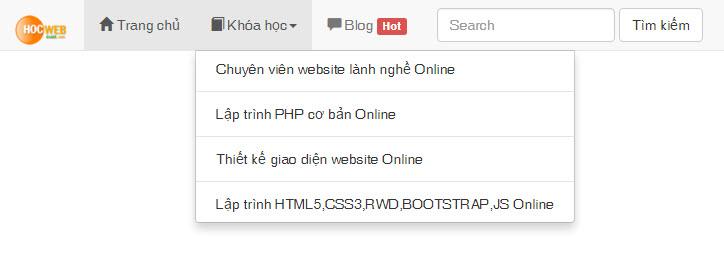 Cách tạo hiệu ứng Slide Down & Slide Up cho menu Bootstrap