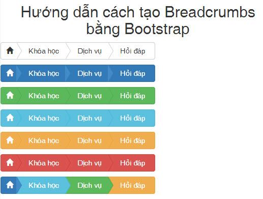Hướng dẫn cách tạo Breadcrumbs bằng Bootstrap