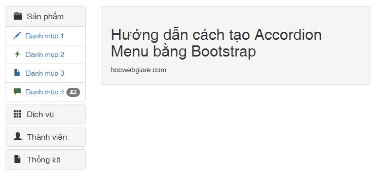 Hướng dẫn tạo cách tạo Accordion Menu bằng Bootstrap