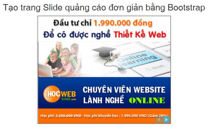 Cách tạo trang Slide quảng cáo đơn giản bằng Bootstrap