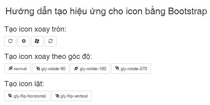 Hướng dẫn tạo hiệu ứng cho icon bằng Bootstrap