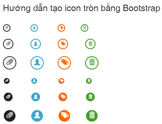 Hướng dẫn tạo icon tròn bằng Bootstrap