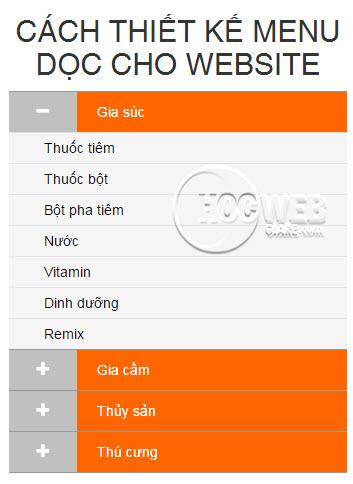 Hướng dẫn tạo menu dọc cho website