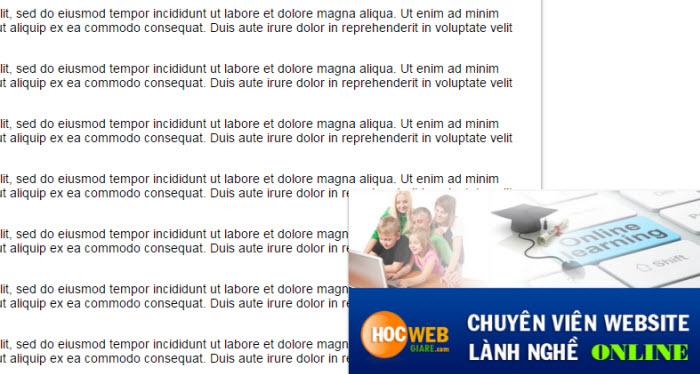 Hướng dẫn sử dụng jQuery End Page Box để tạo quảng cáo góc phải trang web