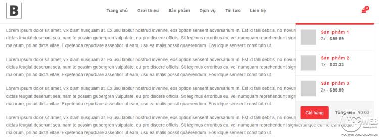 Thiết kế menu với giỏ hàng bằng Bootstrap Nav