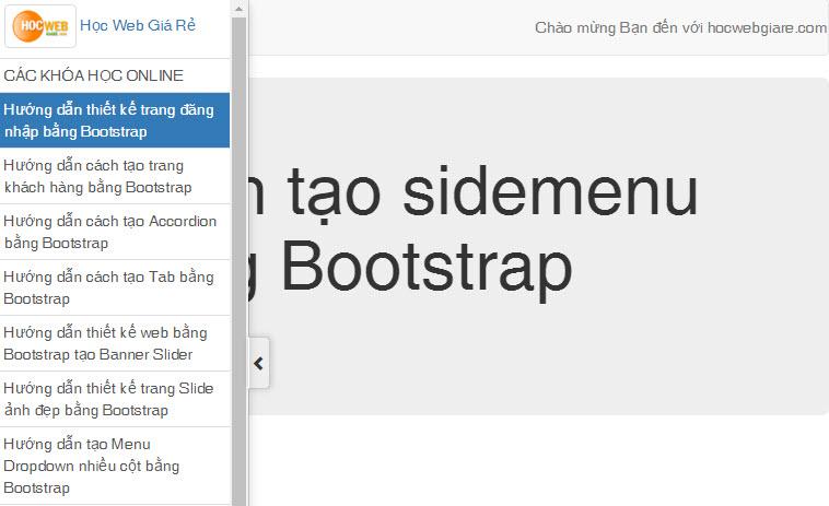 Hướng dẫn cách tạo Sidemenu bằng Bootstrap