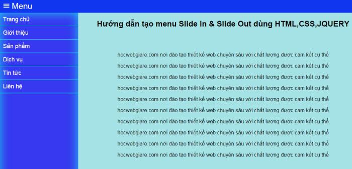 Hướng dẫn tạo menu Slide In & Slide Out dùng HTML,CSS,JQUERY