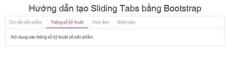 Hướng dẫn tạo Sliding Tabs bằng Bootstrap