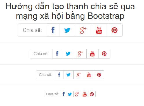 Hướng dẫn tạo thanh chia sẽ qua mạng xã hội bằng Bootstrap