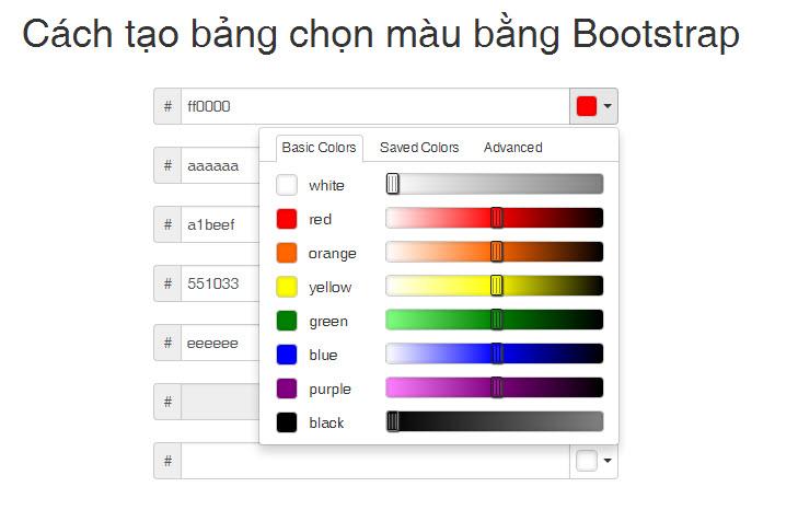 Cách tạo bảng chọn màu bằng Bootstrap