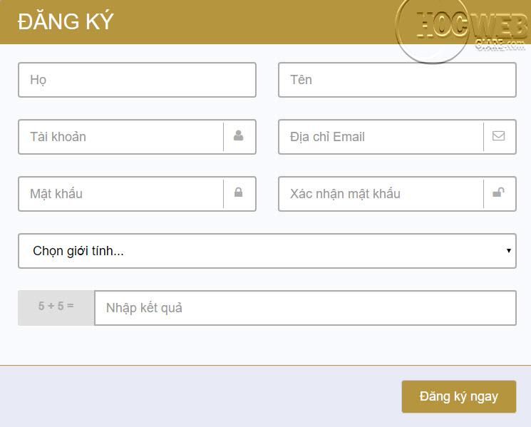 Cách thiết kế trang đăng ký bằng Bootstrap