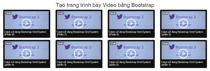 Hướng dẫn tạo trang trình bày Video bằng Bootstrap
