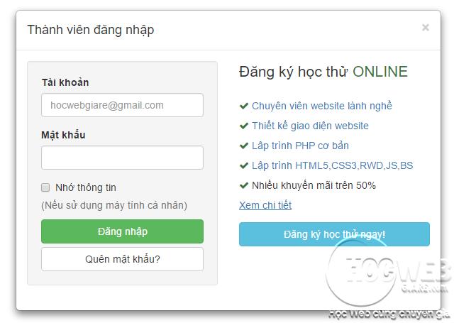 Thiết kế Form đăng nhập với Bootstrap Modal