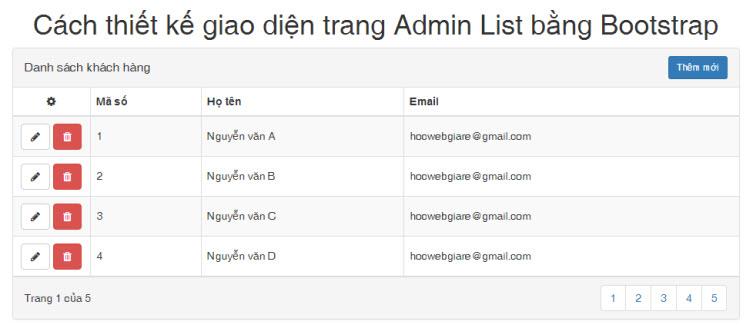 Cách thiết kế giao diện trang Admin List bằng Bootstrap