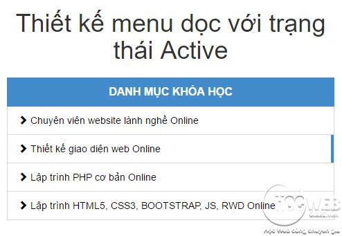 Hướng dẫn thiết kế menu dọc với trạng thái Active bằng Bootstrap